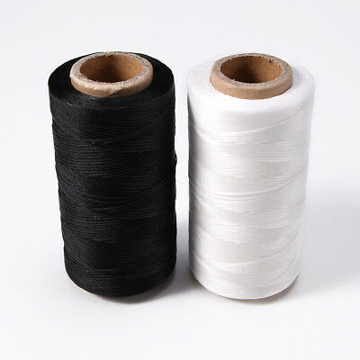 260m Yards 0.8mm Leather Sewing Waxed Flat Thread For LeatherCraft White/Black