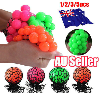 1-5Pcs Sensory Squishy Mesh Ball Grape Anti Stress ADHD Relief Squeeze Toy ON