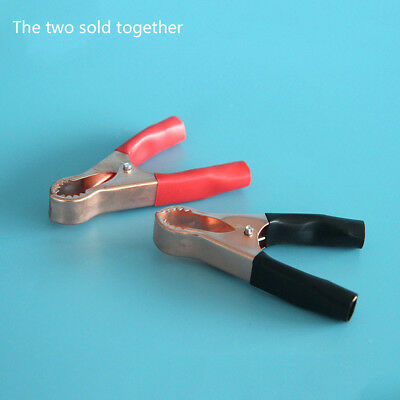 2x50A Car Insulated Alligator Clips Battery Clamps Crocodile Clip Red+Black