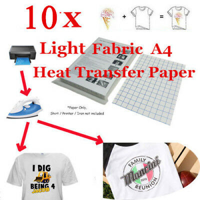 10 Sheet-T-Shirt Inkjet Iron-On Heat Transfer Paper, For Light Fabric,A4 US Ship