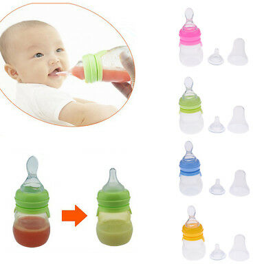 Baby Silicone Squeeze Feeding Bottle With Spoon Food Rice Cereal Feeder 160ML
