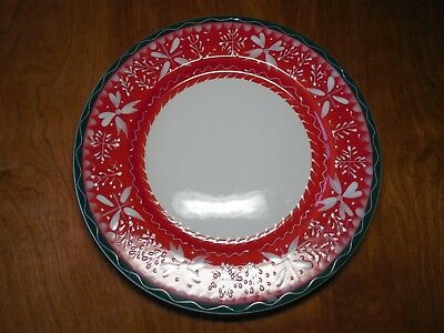 "Zak Designs Spokane WA NORDIC RED Set of 4 Dinner Plates 11"" A"