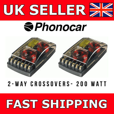 Phonocar 2-Way Passive Crossover 200 Watt High Grade Components For Speakers NEW