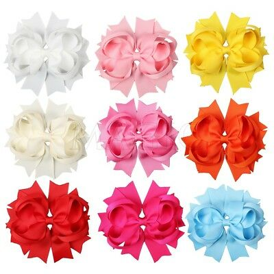 """9pcs 4.5"""" Solid Stacked Boutique Girl Baby Toddler Spike Hair Bows Mixed 9 Color"""