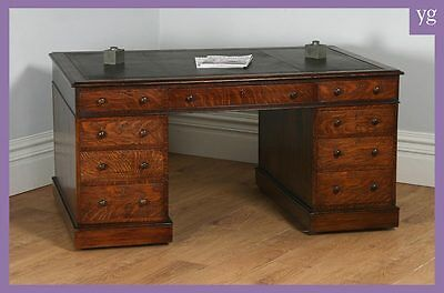 Antique English Victorian Oak & Leather 5ft Partner's Pedestal Office Desk 1860