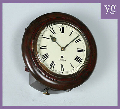 "Repro Victorian Style 11"" Mahogany Fusee Timepiece Railway Station Wall Clock"