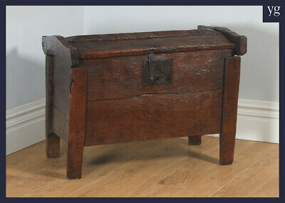 Antique English Oak Tudor Elizabethan Meal Ark Coffer Clamp Chest Trunk (c.1550)