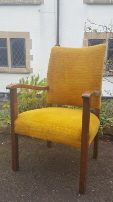 A Vintage/Antique 1940's Era Oak Open Armchair with Upholstered Back & Seat