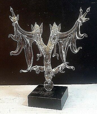 Hand Crafted Blown Art Glass Two Headed Dragon Figurine On A Black Square Base.