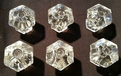 6 Vintage Clear Glass Drawer Pulls 1 3/8""