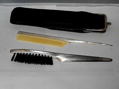 Vintage German Made Brush & Comb Set For Purse ELECTRO PLATED BRASS IN CASE