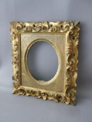 Antique Vtg Italian Florentine Gold Leaf Tole Wood Oval Photo Picture Frame
