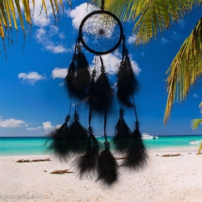 Handmade Dream Catcher Feather Bead Hanging Decoration Ornament Gift Decor Black