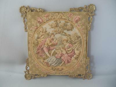 Antique Shabby Vtg Chic Brass & French Victorian Courting Couple Tapestry France
