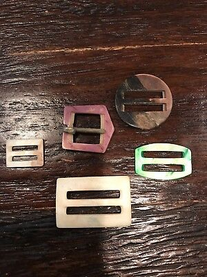 Lot of 10 Antique Vintage Hand Carved MOP/Abalone Buckles