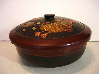 "6 1/4"" Japanese Meiji Period Lacquered Wood Covered Bowl"