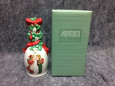 1989 Avon Fine Collectibles Porcelain Christmas Bell Under The Mistletoe NEW NOS