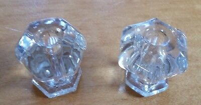"2 Vintage Clear Glass Drawer Pulls 1 1/8"" And 1 1/16"""