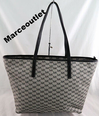 ee29864c86b7 NWT AUTH MICHAEL Kors Emry Large Tz Top Zip Tote Natural Black ...