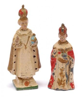 A Pair of Antique Hollowcast Royal Figures -10cm Queen Figure & 8cm Queen Figure