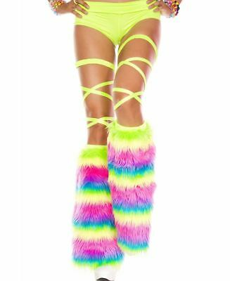Rainbow Faux Fur Knee High Leg Warmers - Music Legs 5541