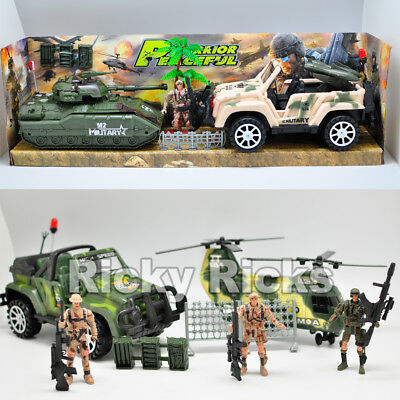 7 Piece Military Toy Set Play Army Guns Soldier Men Action Figures Plastic Cars