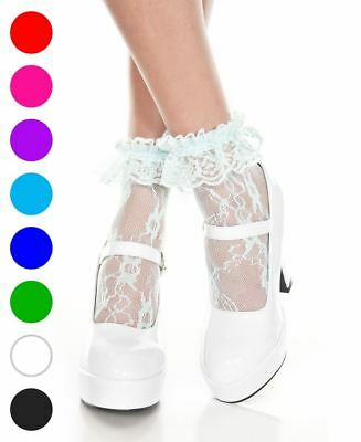 ee97cd1823 NEW MUSIC LEGS 574 Lace Ruffle Ankle High Socks -  7.44