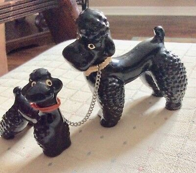 VINTAGE BLACK POODLE WITH PUP on leash Figurine set 1950's