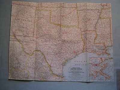 1961 National Geographic Map of South Central United States