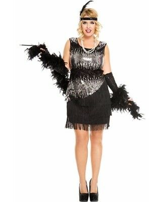 Plus Size Black Fearless Flapper Costume - Music Legs 70595Q-B