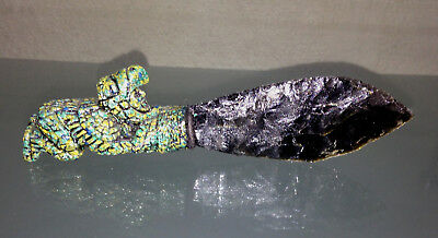 Aztec Small Iridescent Obsidian Sacrificial Knife Dagger Mexican Art 7inches