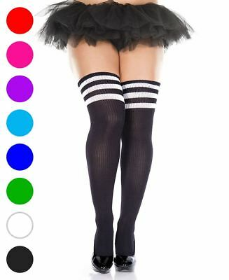 Plus Size Athlete Acrylic Thigh High Stockings With Striped Top - Music Legs 424