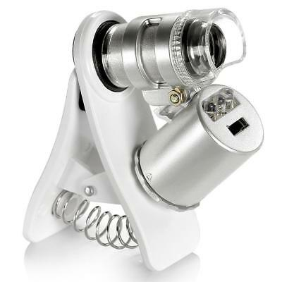 60X Optical LED Clip Zoom Mobile Phone Camera Magnifier Microscope Micro Len New