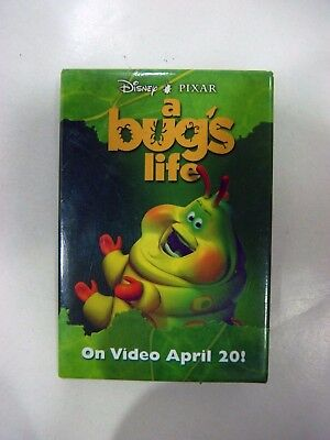 "VINTAGE PIN PROMO MOVIE BUTTON A BUG'S LIFE DISNEY PIXAR ""On Video April 20!"""