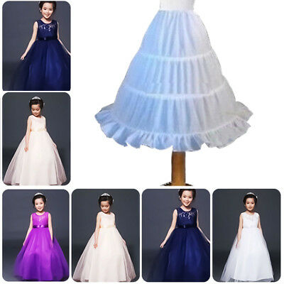 Kids Petticoat Flower Girls 3-Hoop Crinoline Underskirt Dress Slips Children Mon