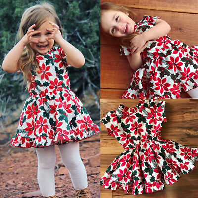 Toddler Kids Baby Girls Princess Floral Short Sleeve Dress Clothes Sundress Mon