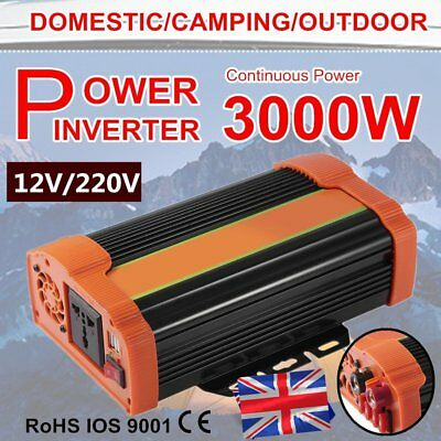 1500/3000 WATT DC 12V AC 240V Car Power Inverter Charger Converter for Solar UK