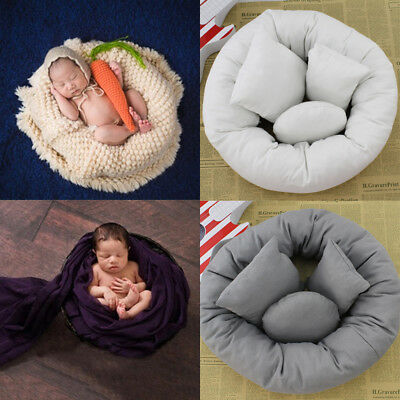4Pcs/Set Baby Newborn Pillow Basket Filler Wheat Donut Photography Props UK