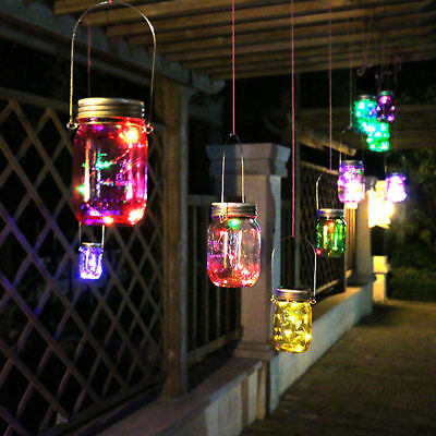 3x Colorful Solar Mason Jar LED Light Magnet on/off Switch Wire Hanger Lid