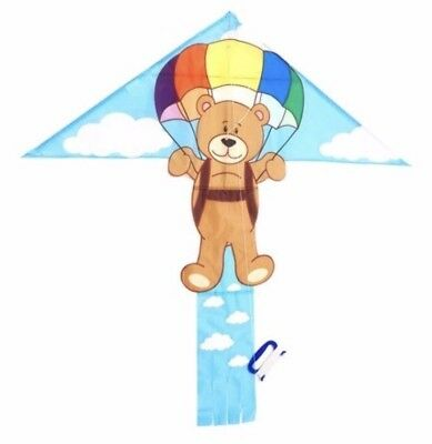 "Nylon Delta Character Kite Teddy Bear Parachute 50"" x 50"" w Carrying Case New"