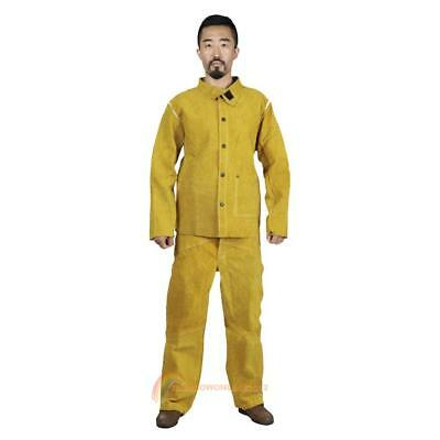 Unisex Welding Tops+Pants Suits Cow Leather Protective Safety Workwear Clothing