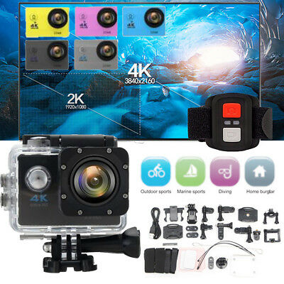 2.0'' LCD 170°4K HD WiFi Sports DV Action Camera With Remote Control CAM DVR