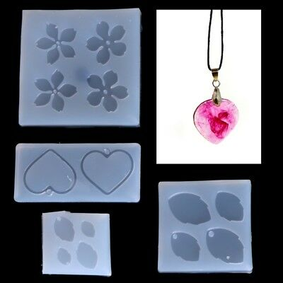 Silicone Jewelry Mold Flower Leaves Heart Shape Making Pendant Resin Tools Craft