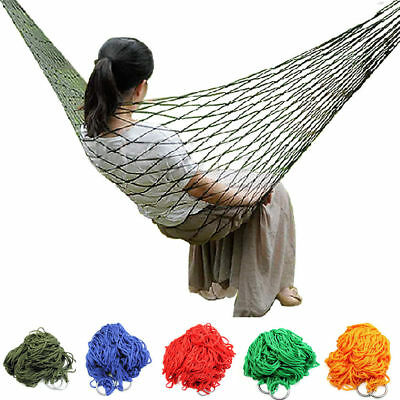 1X Nylon Portable Mesh Hammock Hanging Sleeping Bed Swing Outdoor Travel Camping