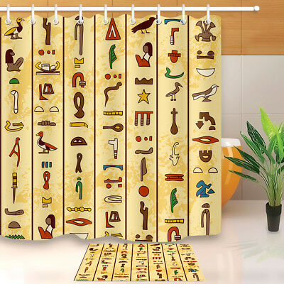 Multicolored Ancient Egyptian Hieroglyphics Shower Curtain Bathroom Waterproof