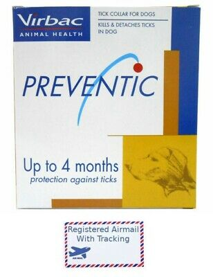 """1 X Preventic Virbac Tick Collar 25"""" Dogs Up to 4 Months Protect + Tracking"""