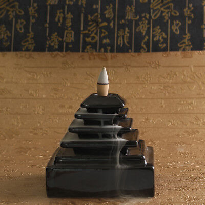 Black Ceramic Waterfall Incense Burner Backflow Censer Tower Holder + 5x Cones