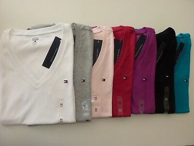 NWT Tommy Hilfiger Multi-Color V-Neck Solid Short Sleeve women's T-Shirts