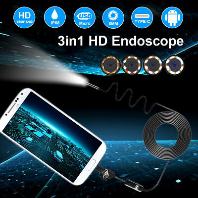 8MM 1200P HD Kamera Endoskope USB TYPE-C 2M 5M 10M Inspektion IP68 8LED Endoskop