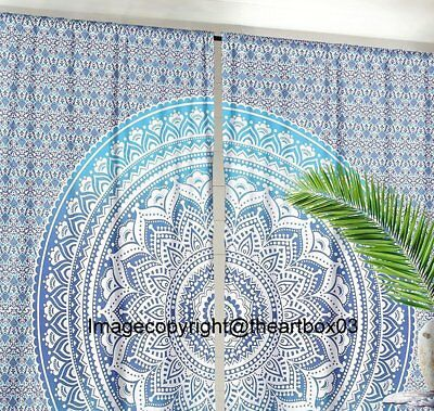 Indian Ombre Mandala Boho Window Door Cover Curtain Hanging Drape Portiere Throw